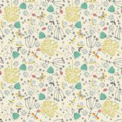 A Walk in The Park by Makower UK - 6455 - Modern Floral on Cream - 2142_Q - Cotton Fabric